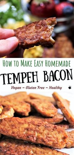 Tempeh Bacon is a delicious, gluten free, vegan bacon alternative! Eat it for br. - Healthy Lunch and Dinner Recipes (gluten free dairy free) - Vegetarian Tempeh Recipes Vegan, Vegetarian Bacon, Vegan Crockpot Recipes, Vegetarian Breakfast Recipes, Bacon Recipes, Vegan Foods, Lunch Recipes, Whole Food Recipes, Healthy Recipes