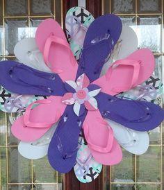 Summer Fun Handmade Flip Flop Wreath Door by RufflesButtonsNBows, $38.00