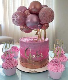 Cake Decorating Frosting, Birthday Cake Decorating, Cake Decorating Tips, Birthday Party Decorations, Elegant Birthday Cakes, Pink Birthday Cakes, Pretty Cakes, Cute Cakes, Balloon Cake