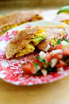 Breakfast Quesadillas by Ree Drummond / The Pioneer Woman. Serve on a plate with pico de gallo or just grab a wedge and head out the door!