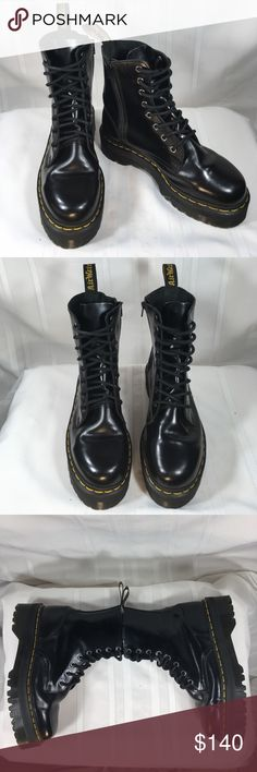 Dr. Martens Platform Boots Black leather Dr. Martens are in excellent condition. Only worn once. No flaws or damage. Side zipper for easy access. Platform measures Dr. Martens Shoes Combat & Moto Boots