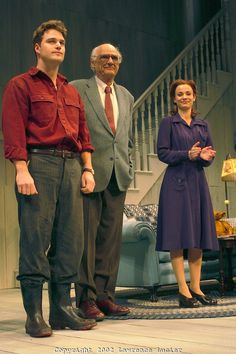 "Actor Chris O'Donnell, playwright Arthur Miller, and actress Samantha Mathis thank the audience at the curtain call for the opening night of ""The Man Who Had All The Luck"" May 1, 2002 in New York City."