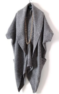 Grey+Long+Sleeve+Pockets+Cape+Cardigan+Sweater+52.16