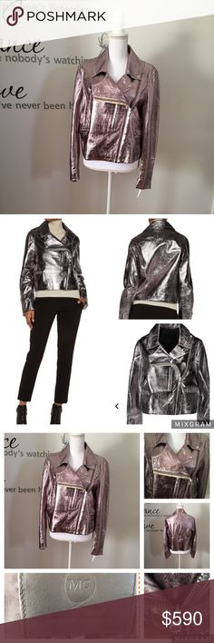 "ALEXANDER McQUEEN Metallic Leader Biker Jacket * McQ Alexander McQueen gunmetal jacket * Textured-leather  * Snap-fastening lapels, zipped cuffs, front zipped pockets, fully lined * Asymmetric zip fastening through front * 100% leather (Sheep); lining: 100% polyester * Specialist clean   * Fits true to size, take your normal size * Boxy fit, cut to be worn loose * Mid-weight, non-stretchy leather * Model is 175cm/ 5'9"" and is wearing a IT size 40 Alexander McQueen Jackets & Coats"