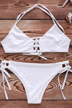 Lace-Up Solid Color Bikini Set WHITE: Bikinis | ZAFUL | http://www.zaful.com/lace-up-solid-color-triangle-bikini-set-p_149567.html