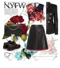 """#NYFW #NewYorkFashionWeek"" by zazaya96 on Polyvore featuring moda, Clover Canyon, Balmain, Balenciaga, Chanel e Gucci"