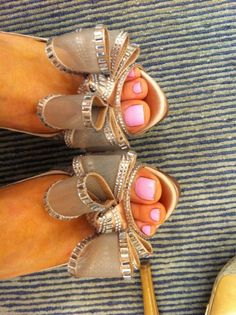 Pretty pink pedicure and the shoes are gorgeous!