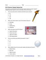 How much do you know about the 2012 Summer Games? Use this multiple-choice quiz to test students' knowledge of Olympic events, athletes, and more  Could be a good starting point!