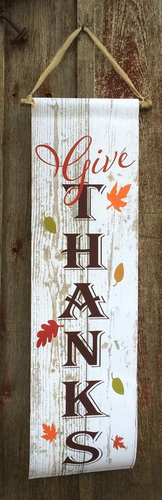 Give Thanks White Pallet Reclaimed Wood Canvas Banner - Autumn Decor, Thanksgiving Decor,