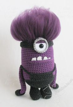 Your place to buy and sell all things handmade Scary cute violet monster amigurumi crochet pattern Mini Amigurumi, Crochet Patterns Amigurumi, Amigurumi Doll, Crochet Dolls, Minion Crochet Patterns, Minion Pattern, Dragon En Crochet, Minion Baby, Harry Potter Crochet