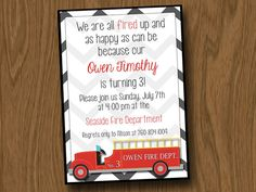 Birthday Party  Fire Truck  Firefighter  Fire Station  by Room1117, $14.00