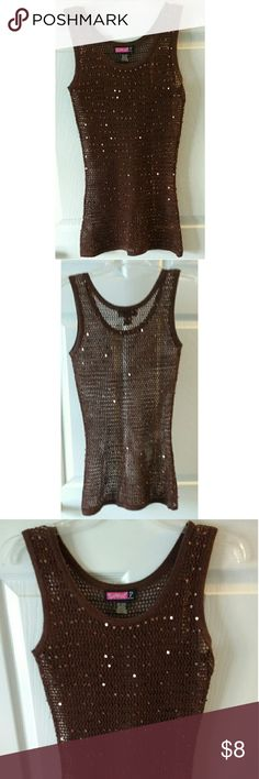 Brown Say What? Mesh tunic tank w/ sequins large Brown Say What? Mesh tunic tank with sequins, size large Say What? Tops Tunics