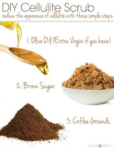 Olive Oil + Brown Sugar + Coffee Scrub | Reduce the appearance of cellulite with a few easy steps. | Skin Care Tips from DIYReady.com #SkinCareTips #DIYReady