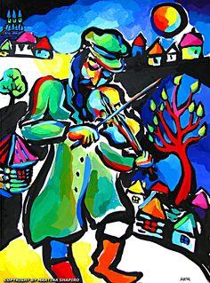 Fiddler and a tree, Jewish painting by artist Martina Shapiro, contemporary Judaica art