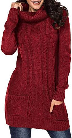 Shop a great selection of Cutiefox Womens Cowl Neck Cable Knit Long Sleeve Slim Bodycon Sweater Dress. Find new offer and Similar products for Cutiefox Womens Cowl Neck Cable Knit Long Sleeve Slim Bodycon Sweater Dress. Long Sweaters, Pullover Sweaters, Sweaters For Women, Winter Sweaters, Red Sweaters, Long Sleeve Sweater Dress, Dress Long, Cable Knit, Winter Outfits