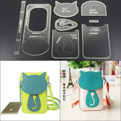 DONYAMY Acrylic Mobile phone package Leather Template Model Handwork Leathe… – Online Pin Page Diy Leather Tools, Leather Diy Crafts, Leather Projects, Coin Purse Pattern, Leather Wallet Pattern, Purse Patterns, Diy Purse, Kids Bags, Leather Tooling