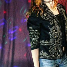 VINTAGE 1990s Golden Embroidered Floral Mariachi Style Jacket
