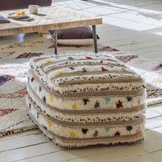 Trinx Multi Pouffe // Graham & Green #bohemian #boho #bohostyle #bohemiantrend #bohemianinteriors #bohohome #bohostyle #textures #macrame #woven #ikat #home #homedecor #homeinteriors #interiors #interiordesign #summer #summerhome #summergarden #design #furnituredesign #textiles #textilesdesign #cushion