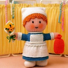 Jean Greenhowe official Website - Little Gift Dolls Knitting patterns, knitted dolls, knitted toys, easy knitting patterns, free knitting patterns Knitting Dolls Free Patterns, Knitted Dolls Free, Christmas Knitting Patterns, Knitting For Kids, Craft Patterns, Free Knitting, Crochet Toys, Baby Knitting, Knitted Nurse Doll Pattern