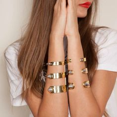 Cleopatra Cuff in Gold with Silver Spikes by Monica Sordo
