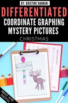Christmas Coordinate Graphing Mystery Pictures - Your 3rd, 4th, 5th, and 6th grade upper elementary students will love plotting these ordered pairs to create a mystery picture. Differentiated options allow for students to work with whole numbers, negative numbers, and decimals. Click through to see how you can use this download for both in-person and online classrooms during the Christmas season. #UpperElementary #KristineNannini #MysteryPictures