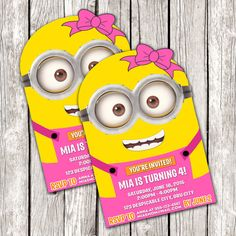 Hey, I found this really awesome Etsy listing at https://www.etsy.com/listing/228232383/pink-minion-invitation-despicable-me