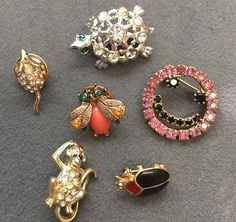 Vintage Lot Rhinestone Jewelry Pins Brooches Monkey Mouse Turtle Beetle Fly