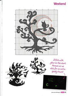 Halloween tree cross stitch
