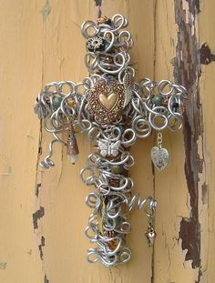 Vintage Style Hearts and Wings Silver Wall Cross by TotallyCrosses, $72.50