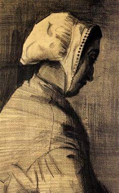 Head of a Woman, 1883 by Vincent van Gogh. Realism. portrait. Van Gogh Museum, Amsterdam, Netherlands