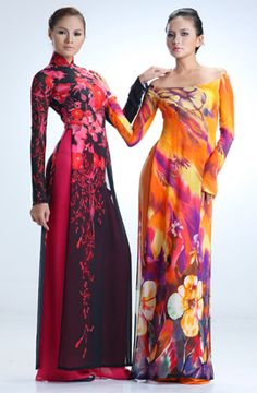 traditional high collar and modern off shoulder vietnamese ao dai