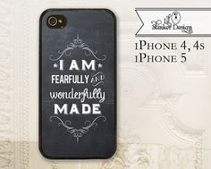 Christian cell phone case - iPhone 4 4s - iPhone 5 5s - chalkboard quote - Psalms 139:14 - bible verse - scripture - typography phone cover on Etsy, $17.99