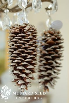 how to make glittery pine cones - Click image to find more Holidays & Events Pinterest pins
