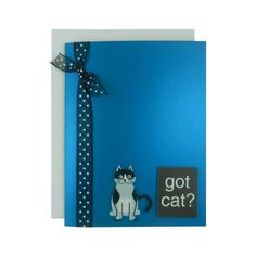 Got Cat? Blank Cat Greeting Card - Blue Metallic black and white cat note card black with polka dot cat lover greeting card pet lover gift