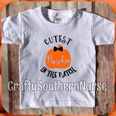 Cutest Pumpkin In The Patch Short Sleeve T-Shirt Top Outfit Youth Kid Kids Children Children's Toddler Little Baby Boy Fall Halloween Autumn Festive Bow Tie Cute Preppy by CraftySouthernNurse