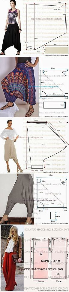 66 Ideas sewing pants harem for 2019 Sewing Pants, Sewing Clothes, Dress Sewing Patterns, Clothing Patterns, Fashion Sewing, Diy Fashion, Estilo Hippie, Diy Vetement, Creation Couture