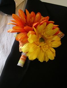 GRAND 10 Inch Gerbera Daisy Wedding BOUQUET & BOUTONNIERE  Set shown in Orange and Yellow perfect for any Fall, Spring , Summer Wedding. $155.00, via Etsy.