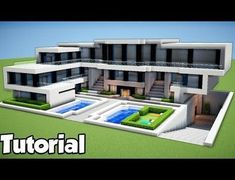 Minecraft: How To Build A Large Modern House Tutorial 2018 - Minecraft Servers Web - MSW - Channel Mansion Minecraft Houses, Minecraft Mansion Tutorial, Minecraft Villa, Video Minecraft, Minecraft World, Modern Minecraft Houses, Minecraft House Tutorials, Minecraft Plans, Minecraft House Designs
