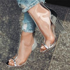 Cheap boots fashion, Buy Quality fashion boots directly from China short boots Suppliers: hot selling transparent ankle high booties peep toe chunky high heel rear zipper patchwork shoes silver fashion wild short boots Chunky High Heels, High Heel Boots, Heeled Boots, Heeled Sandals, Cute Shoes, Me Too Shoes, Basket Style, Transparent Heels, Clear Shoes