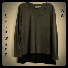 VERA WANG long grey/black tunic - EUC! Beautiful tunic top in excellent condition, worn only once.  EZ care fabric, 65% Polyester - 35% Rayon.  From SFPF home.  Gr8 price! Vera Wang Tops Tunics