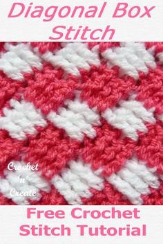 Diagonal Box Crochet Stitch - Made with treble crochet and double crochet stitches this gorgeous pattern produces a lovely soft texture which is ideal for dishcloths, washcloths, blankets or… Crochet Box Stitch, Free Crochet, Stitch Box, Crochet Lace, Tunisian Crochet, Learn To Crochet, Dishcloth Crochet, Crochet Mandala, Crochet Afghans