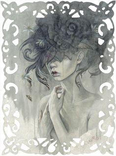 """""""Mignon""""  Watercolor, Oils and Ricepaper on Panel  © Redd Walitzki"""