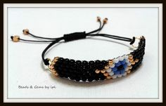 BEADS and GEMS by LPL Art... BB-102 Handmade bracelets - La Petite / Evil eye collection - Brick stitch - 9/o seed beads - 0,50 macrame cord , 3mm square beads - in black , gold ,  white & turquoise colours.