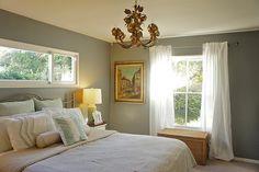 Green/Grey bedroom paint color www.bellestagingandredesign.com