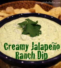 6 ingredient Jalapeno Ranch Dip - Cilantro, Ranch Dip Mix, Diced Jalapenos, Sour Cream, Cream Cheese