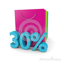 3d rendering of shopping bags and 30% discount cube over white background