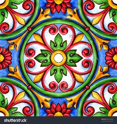 ornaments on the tiles, watercolor, spain, italy, Majolica, floral ornament