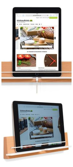 Tablet Wandhalterung aus Buche für die Küche, einfache Stauraum Lösung / easy storage idea for the kitchen: wooden tablet holder made by klotzaufklotz via DaWanda.com