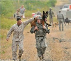 K-9 teams training how to carry a wounded K-9