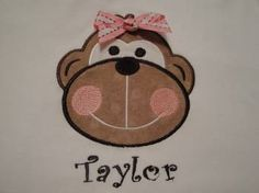 Personalized Monkey Shirt Boutique Girl Monkey with a Bow Tee Shirt on Etsy, $23.99
